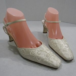 Vanessa Beaded White Satin Wedding Bridal Shoes